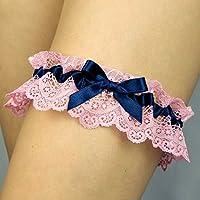 Giarrettiera di pizzo nozze matrimonio sposa biancheria intima regali de nozze blu rosa cuore Swarovski Handmade