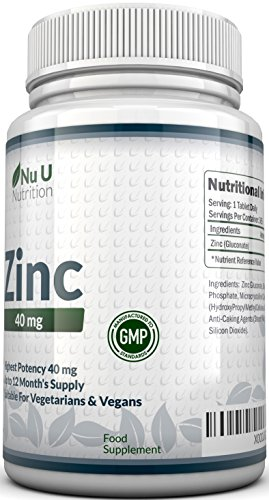 ZINC 50mg 365 Tablets (12 Month's Supply), 1 Easy to Swallow Zinc Gluconate Tablet Per Day by Nu U Nutrition