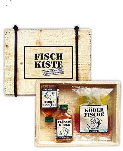 Fischkiste mit Lakritze oder Weingummis und Kräuterlikör Flüssigköder Holziste Kabelbinder für...