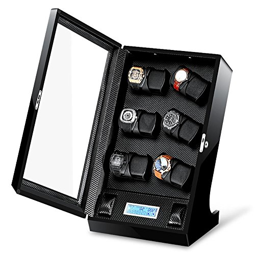 -M&Q- Watches Winder • Carica orologi • Custodia orologi • 12+2 orologi automatici • Silenzioso • con touch screen LCD , black