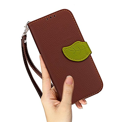 Mix & Match Color Leaf Style Magnetische Wölbung PU Ledertasche Brieftasche Tasche Cover Case mit Card Slot & Lanyard Für HTC EVO HTC Bolt ( Color : Red ) Brown