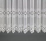 Maßgeschneiderte Dreher Sablé Store Gardine mit Makrammee Stickerei, Spitze, Kräuselband (Universalband), Vorhang nach Maß, Höhe: 90 – 275 cm(90 x 350 cm /HxB)