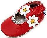 MiniFeet Premium Weiche Leder Babyschuhe, Rubinrot Sandale 0-6 Monate