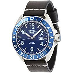 Mens Unique Casual Watch with Blue Dial Luminated Hand Black Leather Strap