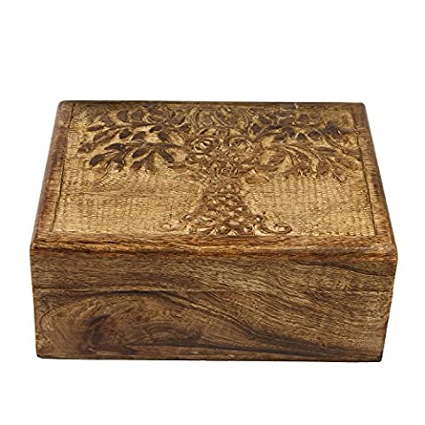 Icrafts en bois Arbre de vie souvenir à bijoux boîte à bijoux de stockage Organiseur | fait à la main | (21.5x 16.5cm)