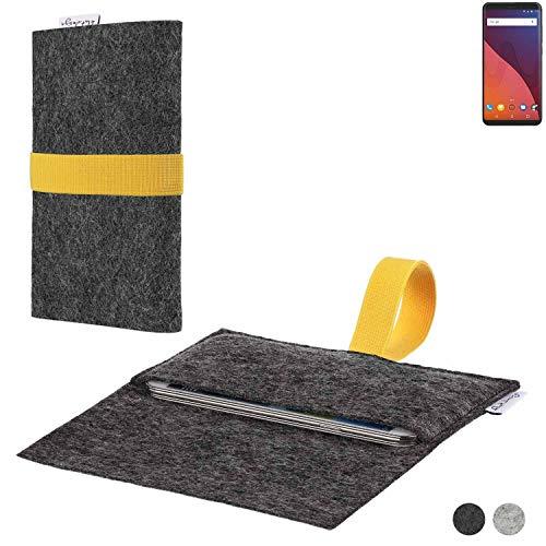 flat.design Handy Hülle Aveiro für Wiko View 32 GB passgenaue Filz Tasche Case Sleeve Made in Germany