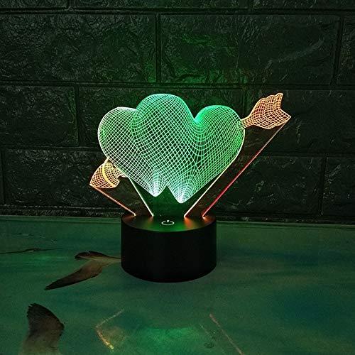Fengdp Amors Pfeil 3D Illusion Plattform Nachtbeleuchtung Touch Symbol 7 Farbwechsel Dekor LED Lampe, Form kann angepasst Werden