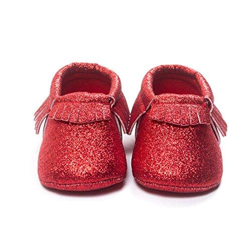 Lantejoulas Vermelhos Sola Bzline® Borlas Berço Sapatos Bebê Bebê Sapatilha De Sapatos Macia F4xEZpgwq
