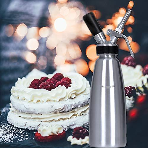 Profi Sahnespender 0.5L 500ml 304 Gebürstet Edelstahl Cream Whippers Sahnebereiter für heiße und kalte Cremes Eiscreme und Soßen Frische Sahne Deko-Düsen Verwendet N20 Sahnekapseln (Nicht enthalten)