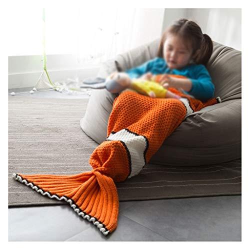 WARMTH IN THE DISTANCE Los niños Nemo Fish Mermaid Fish Tail Manta Manta Knitting 70 * 140 cm Naranja...