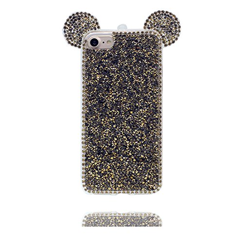 "Coque iPhone 6, [TPU Flexible Durable Bling Diamonds Lovely Cute Ear] iPhone 6s étui Cover (4.7 pouces), iPhone 6 Case (4.7""), anti- chocs- 3D Oreille de souris Cartoon Mouse ear Slivery ring Shiny So # 5"