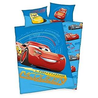 Arle-Living 3 TLG. Baby Bettwäsche Set mit Wende Motiv: Disney Cars 3 - Flanell 100x135 cm + 40x60 cm + 1 Spannbettlaken 70x140 cm (mit Laken: weiß, Flanell)