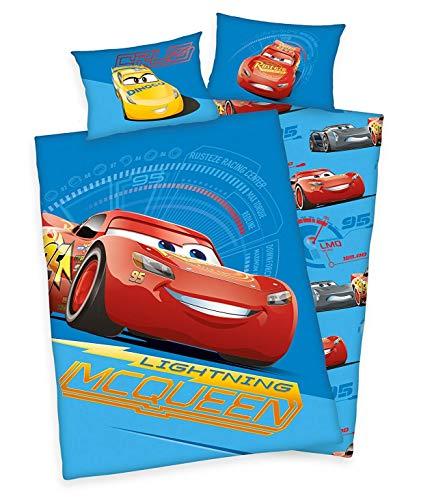 3 tlg. Baby Bettwäsche Wende Motiv: Disney Cars 3 - renforcé 100x135 cm + 40x60 cm + 1 Spannbettlaken in weiß 70x140 cm (Cars Baby Bettwäsche)