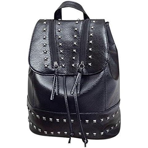 Clode® Bolsa de moda para mujer remache Mochila viaje cuero bolso mochila escuela de hombro