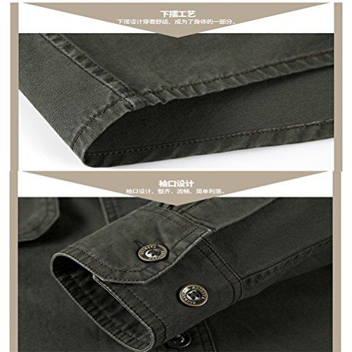 WS668 Herren 100% Baumwolle Casual Shirt Kariert Tops Gute Qualität Buttons Check Lange Ärmel Leicht Militär Hemd Mens Long Sleeve Shirt Khaki-5528