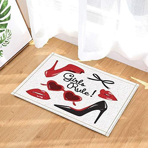 Damen Rotes Herz Sonnenbrille Weißer Hintergrund Rote Lippen Schwarz Schöne High Heels Bögen Badezimmertürmatten Rutschfester Boden Innentürmatten Kinder 40X60 cm Zubehör