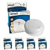Nemaxx WL2 - Detectores de humo inalámbricos, 4 unidades, cumplen con normativa EN 14604, color blanco