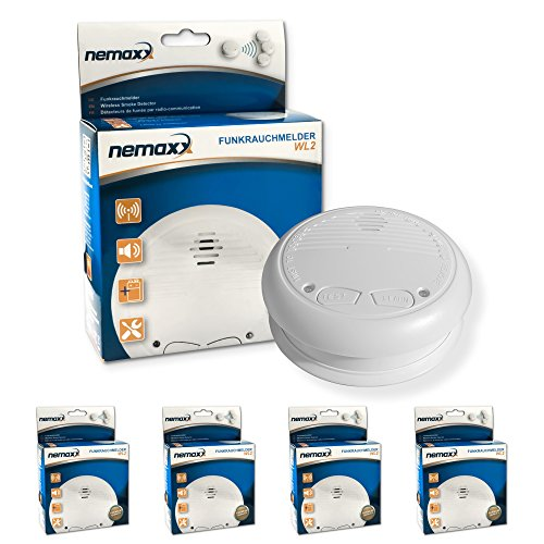 4x Nemaxx WL2 Funkrauchmelder ? hochwertiger Rauchmelder Brandmelder Set Funk koppelbar vernetzt ? nach DIN EN 14604