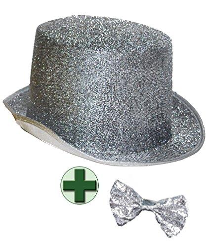 Karneval-Klamotten Zylinder-Hut Herren Silber Glitzer mit Fliege Silber für Erwachsene Silvester-Hut Neujahr Karneval