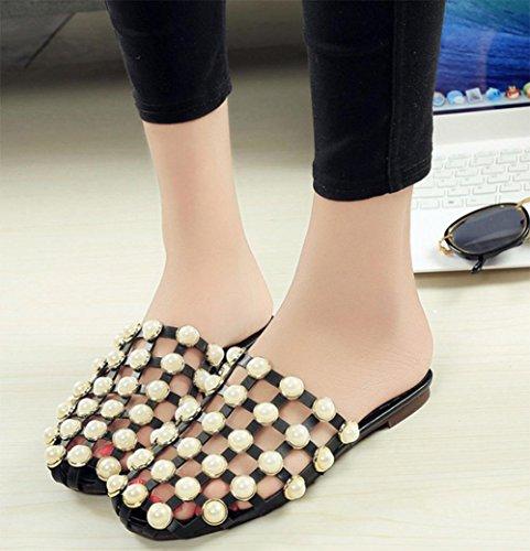 Xia Jiping sandales perle de personnalité fond creux dames sac sandales et pantoufles Black