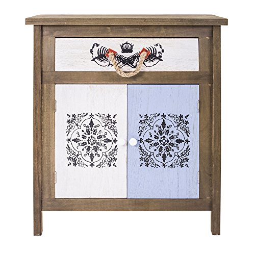 Rebecca srl armadietto mobile bagno 2 ante 1 cassetto legno bianco azzurro decorazione nera retro camera cucina (art. 0-3169)