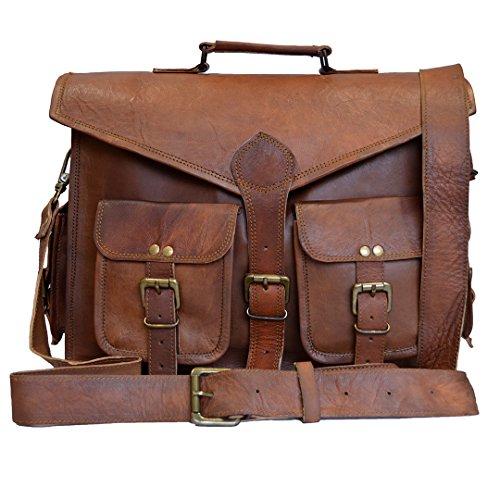 Mad Over Shopping, Vintage handgemachte braune Tasche aus echtem Leder Schultertasche Aktentasche Laptop Office Herren Taschen (Mini-leinwand-tasche Kollektion)