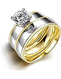 nykkola 2 Pcs un conjunto de acero inoxidable con Swarovski Crystal anillo de eternidad banda oro