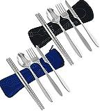 Set di posate in acciaio inox 8 pezzi Coltello, forchetta, cucchiaio, bacchette, utensili da campeggio da campeggio Viaggi Escursionistici Set di posate con custodia in neoprene. (Nero e Blu scuro)