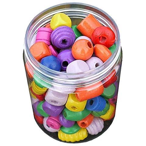 Piccolino Perlenmischung bunt 100g - Holzkugeln, Holzperlen, Holzwürfel farbig 1-2cm, ca. 100 Stück