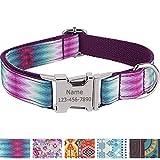 Vcalabashor Personalisiertes Hundehalsband mit Hundename und Telefonnummer/Strapazierfähiger Stoff mit Mode-Muster und Metallschnallen/Für mittlere und große Hunde/Lila