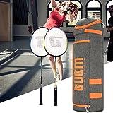 P Prettyia Schlägertasche Wasserdichte Sporttasche mit Schuhfach zur Aufbewahrung von 3 Badmintonschläger, Schuhe und Kleidung - Schwarz Orange