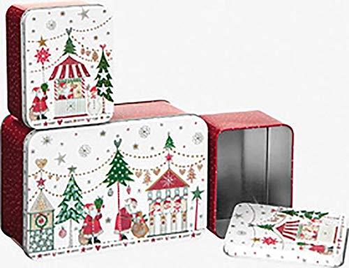 Stewo - Keksdose/Metallbox im Set - 3-teilig - eckig - Motiv: Weihnachten (1 Set)