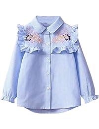QUICKLYLY Blusas y Camisas Niña Manga Larga Niñito Raya Bordado Floral