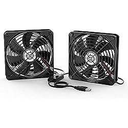 ELUTENG Ventilateur 120mm Double 2 in 1 USB Fan Grille Trois Vitesse Réglable Ventilateur de PC 5V Fan Cooler Refroidisseur 12cm Cooling pour PS4 PS3 Xbox Routeur Mini PC