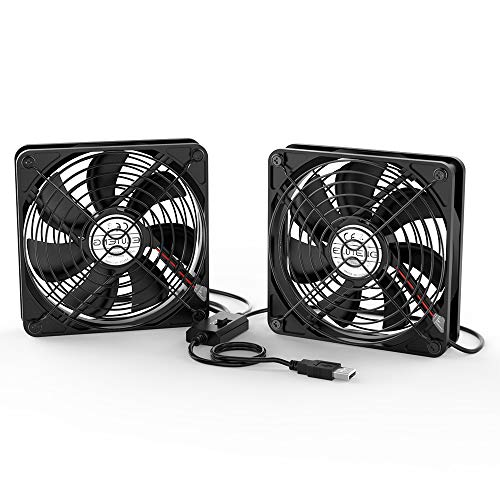 ELUTENG Ventola 120mm USB 5V Raffreddamento PC Silenziosa Ventole Fan 12cm 7 Lame con Griglie Metalliche per TV Box/Router/Xbox/Playstation/PC DIY
