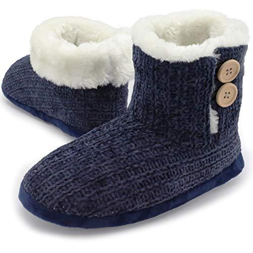 Pantofola a stivaletto donna inverno pantofole invernali a maglia velluto cane scottish terrier (38/39 eu, velluto a maglia blu)