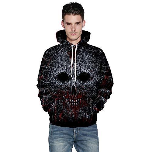 Halloween Sweatshirt Männer Frauen Damen 3D Print Langarm Paare Hoodies Tops Bluse Shirts Pullover Jacke Schreag mit Kapuze (L)