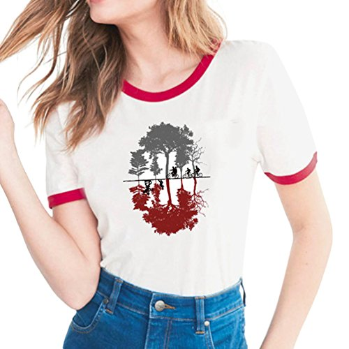 Yuanu donna confortevole traspirante manica corta girocollo slim t-shirt lovers grandi dimensioni casual magliette con tema stampa a proposito di stranger things stampa stile 18 m