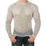 Sunnywill Homme Sexy T-Shirt à Manches Longues Transparent Débardeur Chemise D'été Lacet Croisée Pullover Undershirts T-Shirt Fitness Clubwear