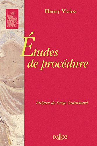 Études de procédure. Réimpression de l'édition de1956