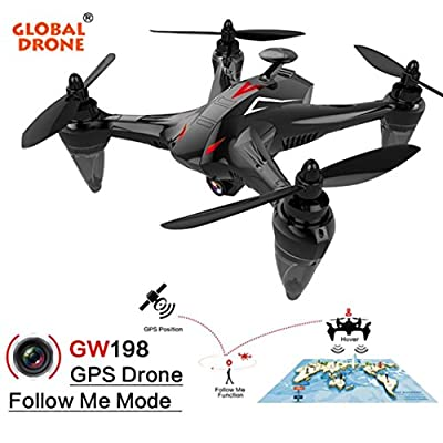 Global Drone GW198 GPS 720P Brushless High Profile UAV Wide-angle HD Camera 2.4GHz 5G WIFI FPV 6-Axis Ray Brushless Motor RC Quadcopter-RED/BLUE by Jintime