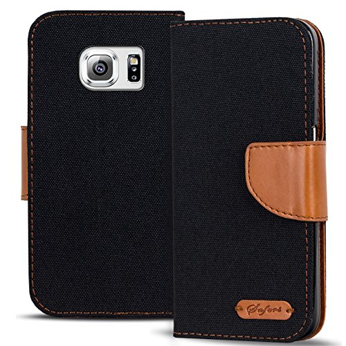 Conie Textil Hülle kompatibel mit Samsung Galaxy S6, Booklet Cover Schwarze Handytasche Klapphülle Etui mit Kartenfächer