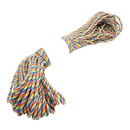 Cuerda del paracaidas - TOOGOO(R) Paracord Cuerda del paracaidas, con 7 hilos, 550 lbs, 100 ft - Arco iris