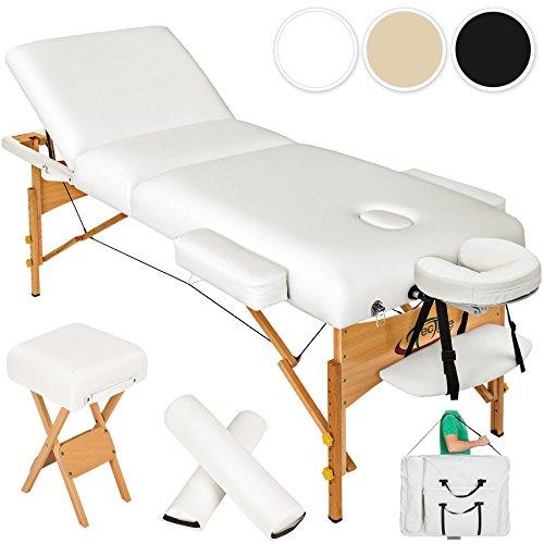 Tectake lettino massaggi 10cm imbottitura estetista massaggio portatile - disponibile in diversi colori - (bianco | no. 400186)