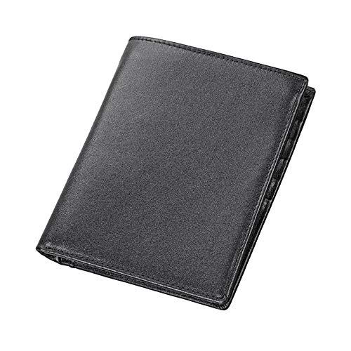 Frauen aus echtem Leder Passport Multi-Funktions-Anti-Diebstahl-Neutral-Geldbörse mit Card Slot (Color : Black) ()