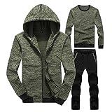 Trainingsanzug Dreiteiliger Anzug Herren Hoodie Jacken Langarm Sweatshirts Sport-Hose Winter Jogginganzug(XX-Large,Grün)