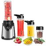 BESTEK Standmixer Smoothie Maker mini Blender Mixer mit Kaffeemühle BPA-freie Tritan-Trinkflasche und 4-Fach Edelstahlmesser 300 Watt Schwarz