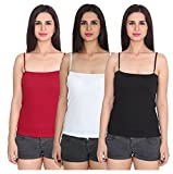 #3: Women Camisole Sleeveless Vest Slim Crop Top Spaghetti Strap Camis Cotton Tube Bodysuit Adjustable Straps Pack of 3