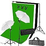 SAILUN Profifoto Studio Set 3 x 1,6m Hintergrund Stoff Studio Regenschirme weiß 45W Tageslichtlampe Studiolicht