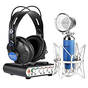 Neewer® Kit di Scheda Audio NW-2S & Microfono NW-88 per Karaoke, Registrazioni Private ecc., Inclusi: (1) NW-2S Scheda Audio + (1) NW-88 Microfono + (1) NW-680 Cuffie + (1) Cavo USB + (1) Cavo per Microfono